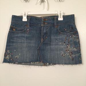 Abercrombie & Fitch Denim Mini Skirt W/ Metallic